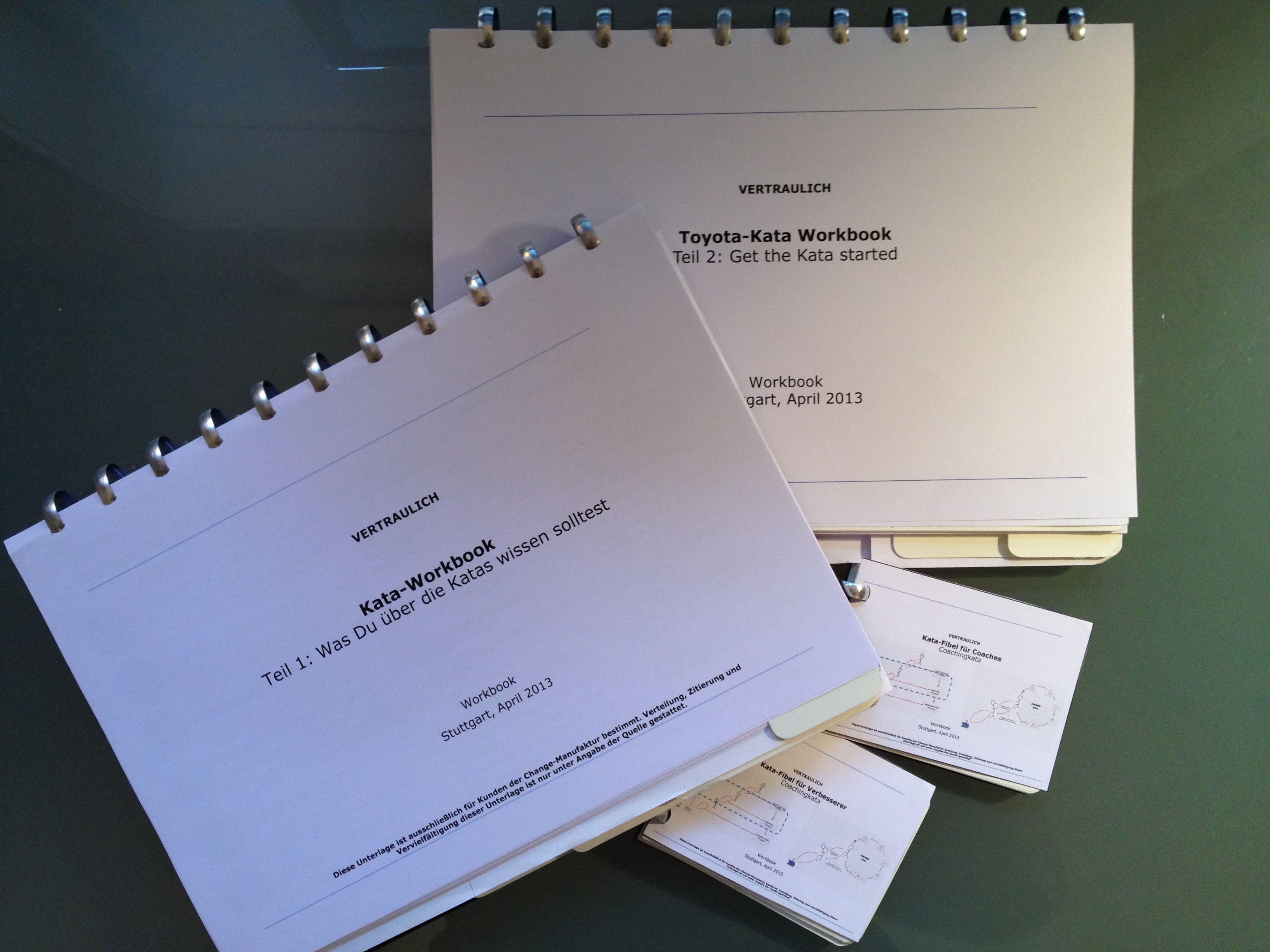1.) Teil 1: Hintergrundwissen zur Arbeit mit der Kata 2.) Get the Kata started (Wende die Kata selbst vor Ort an) 3.) Kata-Fibel für Verbesserer 4.) Kata-Fibel für Coaches